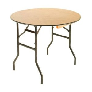 3ft Round Wooden Folding Table
