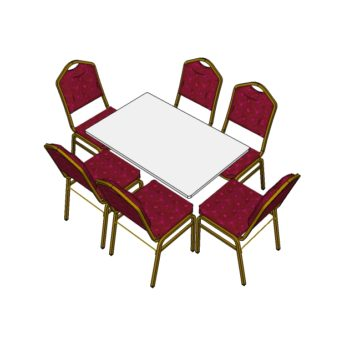 6 Red Steel Emperor Stacking Chairs with 4ft Long Trestle Table (3d)