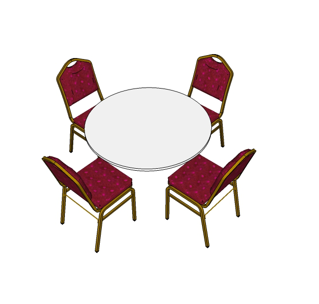 4 Red Steel Emperor Stacking Chairs with 4ft Round Table (3d)