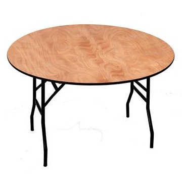 4ft Round Wooden Folding Trestle Table
