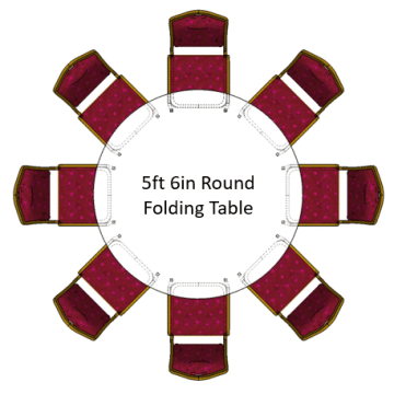 5ft 6in Round Folding Table with red emperor banquet chairs