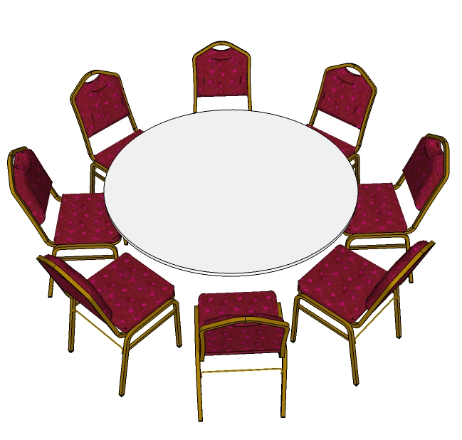 8 Red Steel Emperor Stacking Chairs with 5ft 6inch Round Table (3d)