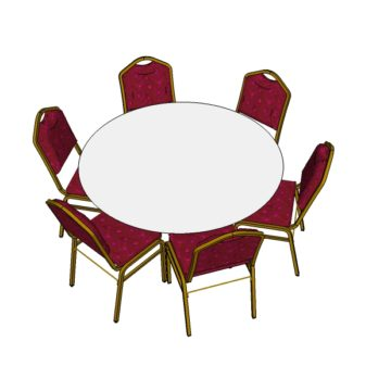 6 Red Steel Emperor Stacking Chairs with 5ft Round Table (3d)
