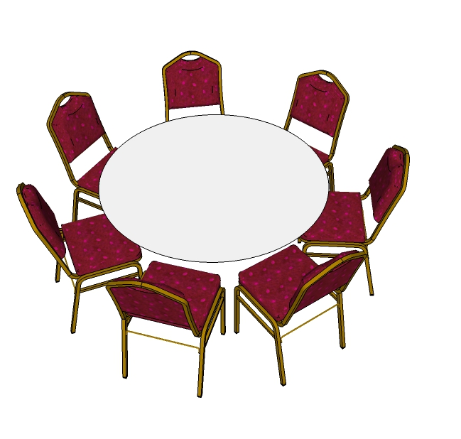 7 Red Steel Emperor Stacking Chairs with 5ft Round Table (Plan)
