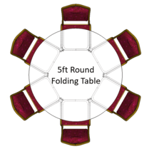 5ft Round Folding Table with red emperor banquet chairs