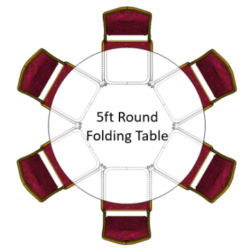 5ft Round Folding Table with emperor banquet chairs