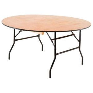 6ft Round Wooden Folding Table