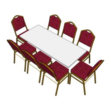 Red Steel Emperor Stacking Chairs with 6ft Long Trestle Table (3d)