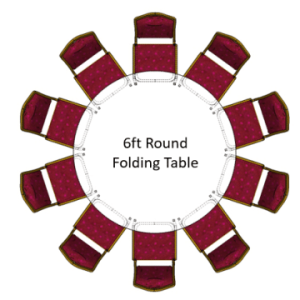 6ft Round Folding Table with red emperor banquet chairs
