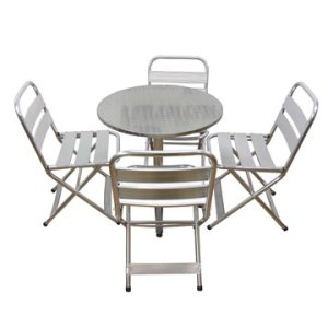 Aluminium Cafe Table and St Tropez Cafe Chairs