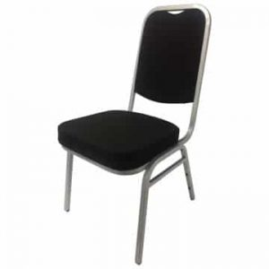 black and silver square back banquet chair