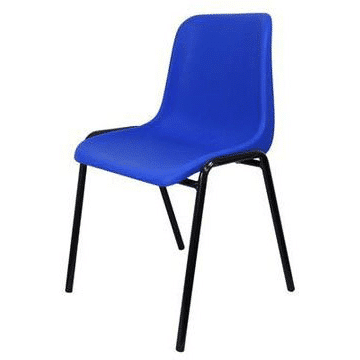 blue plastic stacking chair