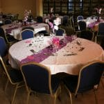 Blue emperor banquet chairs and folding tables