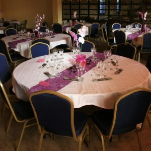 Blue emperor banquet chairs and round trestles