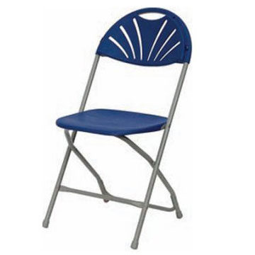 Fan Back Blue Grey Plastic Folding Chair