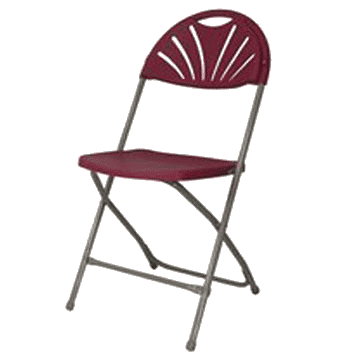 Fan Back Plastic Folding Chair - Burgundy