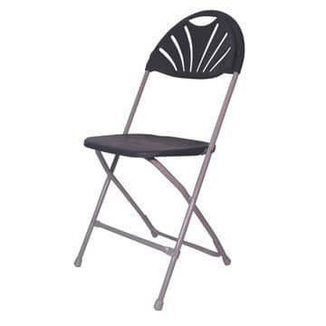 Grey Fan Back Folding Chair