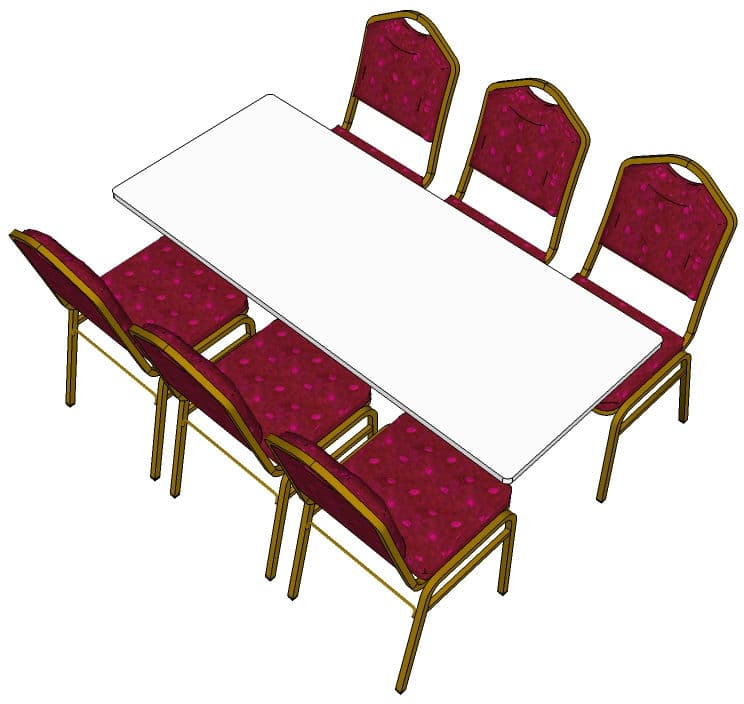 6ft Trestle Table with chairs