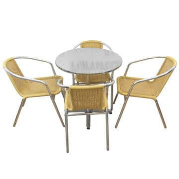 Natural Chairs and Aluminium  Table