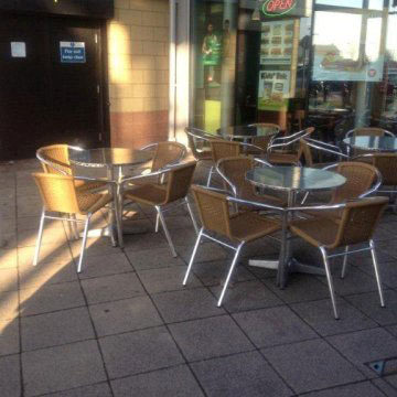 stacking cafe chairs and tables