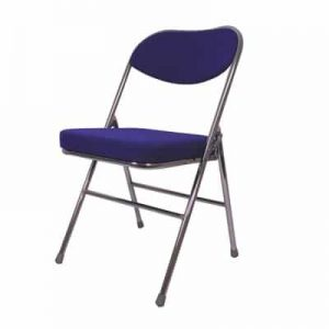 Blue padded folding chair