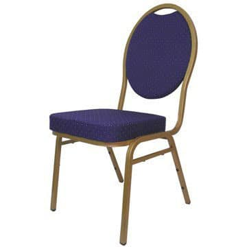 Steel Spoon Backed Banqueting Chair Blue / Gold Frame