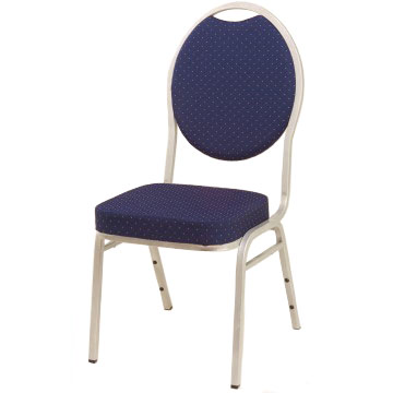 Steel Spoon Backed Banqueting Chair Blue / Silver Frame