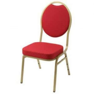 Steel Spoon Backed Banqueting Chair Red / Gold Frame