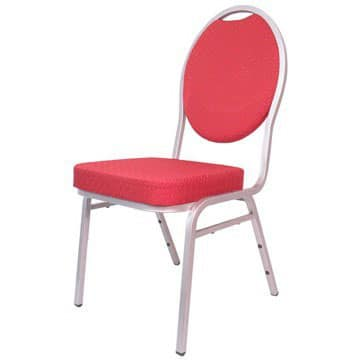 Steel Spoon Backed Banqueting Chair Red / Silver Frame