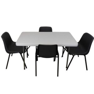 Plastic Stacking Chairs and Trestle Table