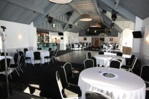 Black and Silver Steel Emperor Chairs and Round Trestle Tables