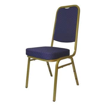 Steel Square Back Banqueting Chair Blue/Gold