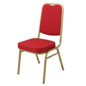 Steel Square Back Banqueting Chair Red/Gold
