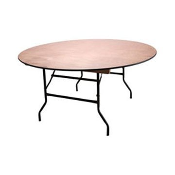 5ft Round Wooden Folding Trestle Table