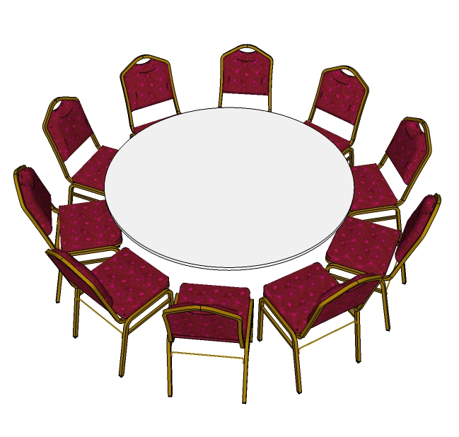 6ft round isographic image including banquet chairs